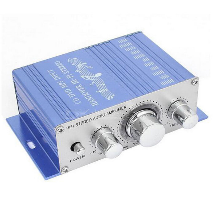 Car Aluminum Mini Hifi Stereo Audio Power Amplifier 40W - Blue