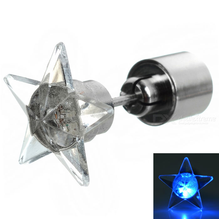 CTSmart Fashion Star Style Blue Light LED Luminous Ear Stud Earring for Party / Bar - Silver