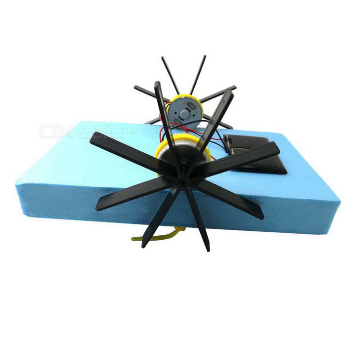 Solar Powered Assembly 2-Motor Paddle-Wheel Barco DIY Toy Toy Kit - Azul + Preto