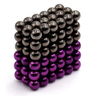 5mm Round Magnetic Puzzle Ball Toys - Purple + Silver Black (108PCS)
