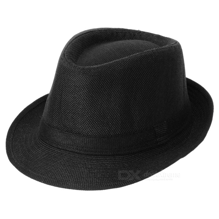 Trendy Cotton Fedora Hat/Cap (Black) trendy cotton fedora hat cap black