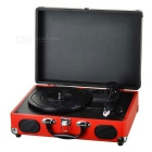 Shenle Suitcase Style 33/45RPM 2-Speed USB Vinyl Turntable w/ Dual Stereo Speaker - Black + Red