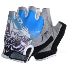 MOke Outdoor Cycling Riding Breathable Anti-Shock Half-Finger Gloves - Grey + Blue (M / Pair)