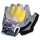 MOke Cycling Riding Anti-Shock Half-Finger Gloves - Grey + Yellow (M)