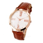 Classical Contracted, Roman Numerals Men Quartz Watch - Rose Gold + White (1 x SR626)