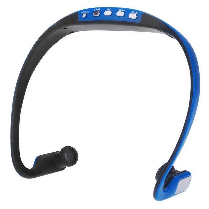 Bluetooth Sport Stereo Ear-hook Earphone Back Headphone -Black + Blue