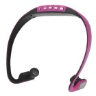 Universal Wireless Bluetooth 3.0 Sport Stereo Earphone Back Headphone Headset - Black + Pink