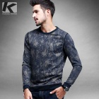 KUEGOU FW-6503 Men's Printing Sweater T-Shirt - Blue (XXL)