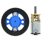 Large Torque N20 DC Gear Motor + 47*12mm Wearable Rubber Wheel for Smart Car - Blue + Black
