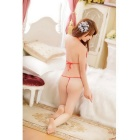 Bathrobe + Bra + Panties + Belt Sexy Lingerie Underwear Set - Red