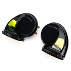 DIY Car Yacht Motocycle 12V Snail Shape High & Low Frequency Horn Speaker Siren - Black (Pair)