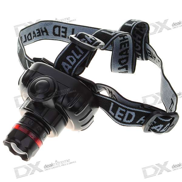High Power 3-Mode White Light Zoom Headlamp - Black (3*AAA)