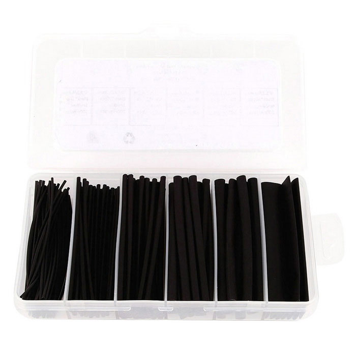 IZTOSS PJ-077 0.6~4.8mm Polyolefin 2:1 Heat Shrink Tubings 170PCS Pro-Kit - Black