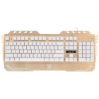 Jianshengyizu 104-Key USB Wired Mechanical Gaming Keyboard - Champaign Golden + White