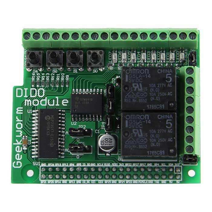 Digital Input Output Board DIDO Module for Raspberry Pi 2 Model B / B+ / A+ - Green + BlackRaspberry Pi<br>Form  ColorGreen + BlackModelN/AQuantity1 DX.PCM.Model.AttributeModel.UnitMaterialPCB + electronic componentsEnglish Manual / SpecYesDownload Link   http://www.raspberrypiwiki.com/index.php/Raspberry_Pi_DIDO_BoardPacking List1 x DIDO Module<br>