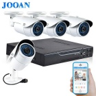 JOOAN 703NVR 4CH 720P POE IP Cameras + NVR Security Surveillance CCTV System - White + Black