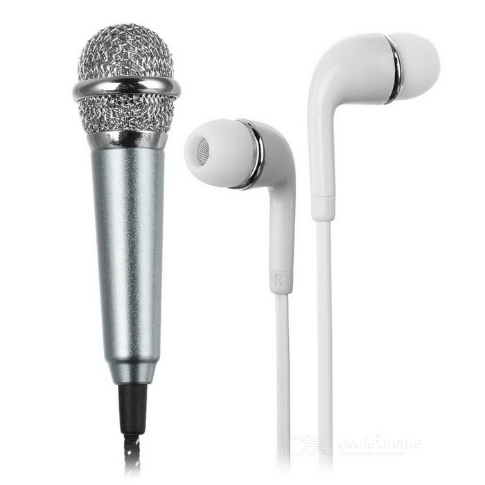 Mini Microphone + Earphone + Adapter Cable Kit for Cellphone / Computer / Karaoke / YY / QT - Silver