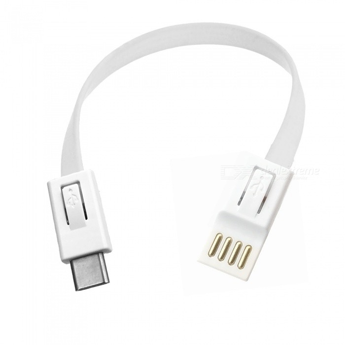 USB 2.0 to USB 3.1 Type-C Flat Charging Data Cable - White (18cm)
