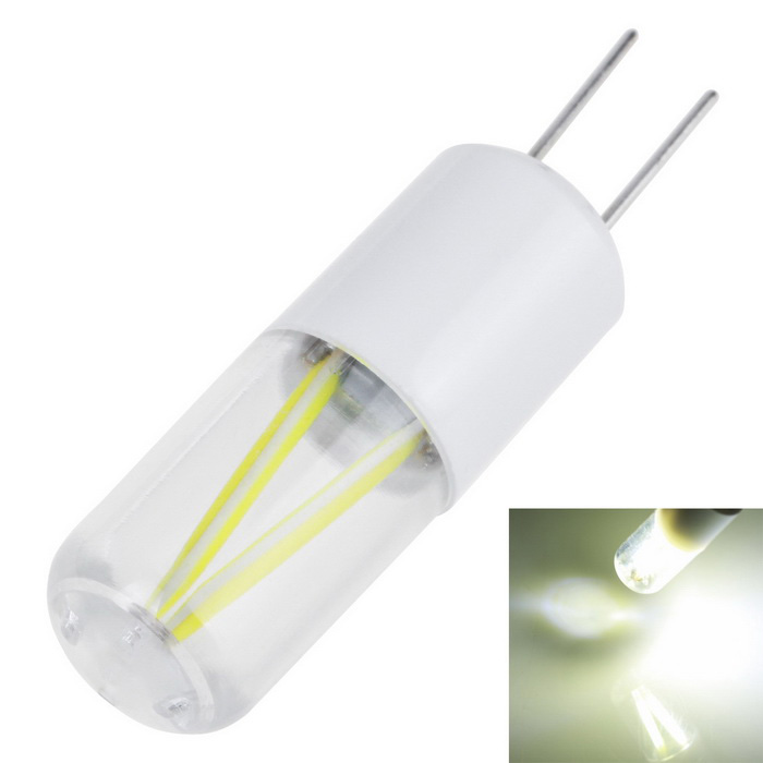 G4 1.5W Cold White Led Tungsten Lights Bulb Filament AC12VG4<br>Form  ColorWhiteColor BINCold WhiteMaterialPVC + LEDQuantity1 DX.PCM.Model.AttributeModel.UnitPowerOthers,1.5WRated VoltageOthers,AC12 DX.PCM.Model.AttributeModel.UnitConnector TypeG4Chip TypeCOBEmitter TypeCOBTotal Emitters1Theoretical Lumens150-180 DX.PCM.Model.AttributeModel.UnitActual Lumens150 DX.PCM.Model.AttributeModel.UnitColor Temperature6000KDimmableNoBeam Angle360 DX.PCM.Model.AttributeModel.UnitPacking List1 x Bulb<br>