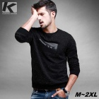 KUEGOU FW-6083 Men's Letter Pattern Sweater T-Shirt - Black (XXL)