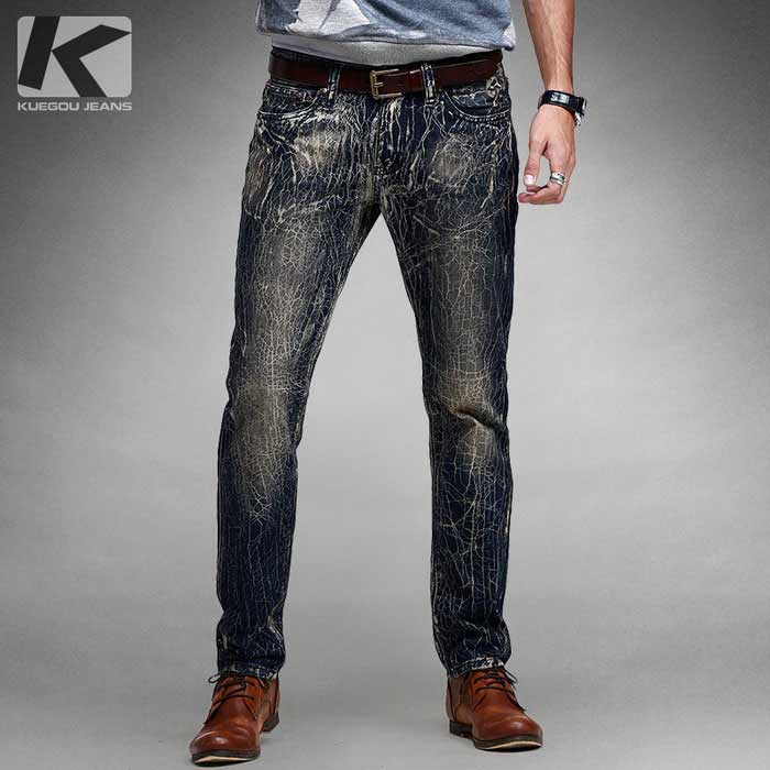 KUEGOU KK-2355 Crackle Pants Padrão Denim Jeans Masculinos - Blue (33)
