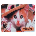 MAIKOU 21.8*18*0.2cm Lovely Cat Pattern Anti-Slip Non-Slip Mouse Pad Mat - White + Orange