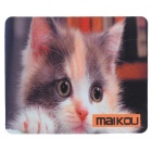 MAIKOU 21.8*18*0.2cm Lovely Cat Pattern Anti-Slip Non-Slip Mouse Pad Mat - White + Brown