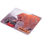 MAIKOU 21.8*18*0.2cm Lovely Cat Pattern Anti-Slip Non-Slip Mouse Pad Mat - Grey + Orange