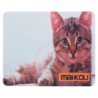 MAIKOU 21.8*18*0.2cm Lovely Cat Pattern Anti-Slip Non-Slip Mouse Pad Mat - White + Grey