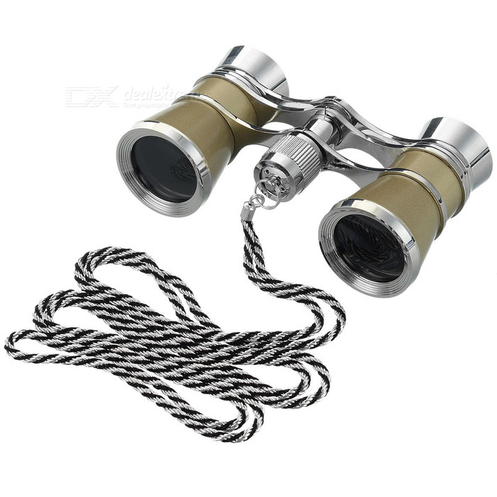 Outdoor Sports Mountaineering 3X Magnification Binocular Telescope w/ Lanyard - Champagne + Silver