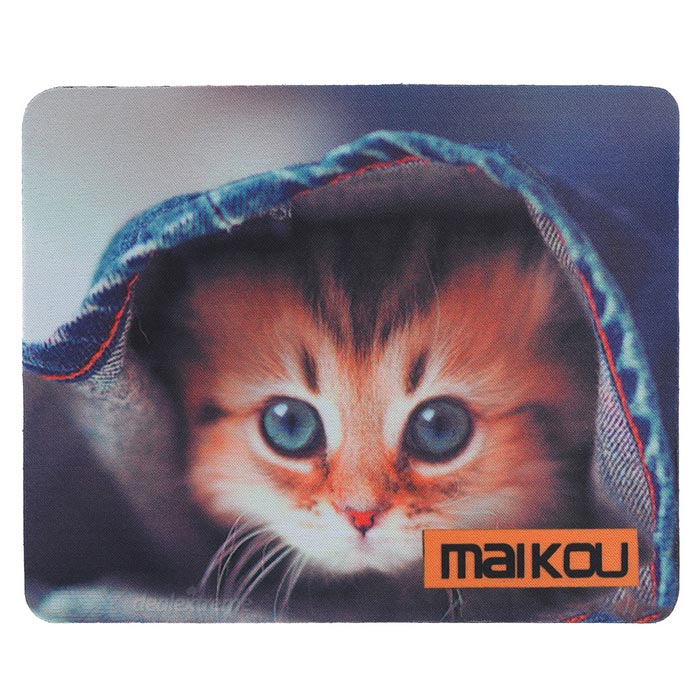 MAIKOU 21.8*18*0.2cm Lovely Cat Pattern Anti-Slip Non-Slip Mouse Pad Mat - Black + Orange