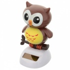Solar Powered Cute Dancing Owl Home Desk Table Decoration Car Decor - Brown + White