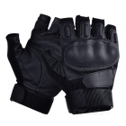 Outdoor Tactical Anti-Slip Half-Finger Gloves w/ Protective Hard Knuckles - Black (L / Pair)