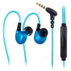 LIBERATOR 3.5mm LED Light Flashing In-Ear Earphones Headphones w/ Mic / Wire Control - Blue