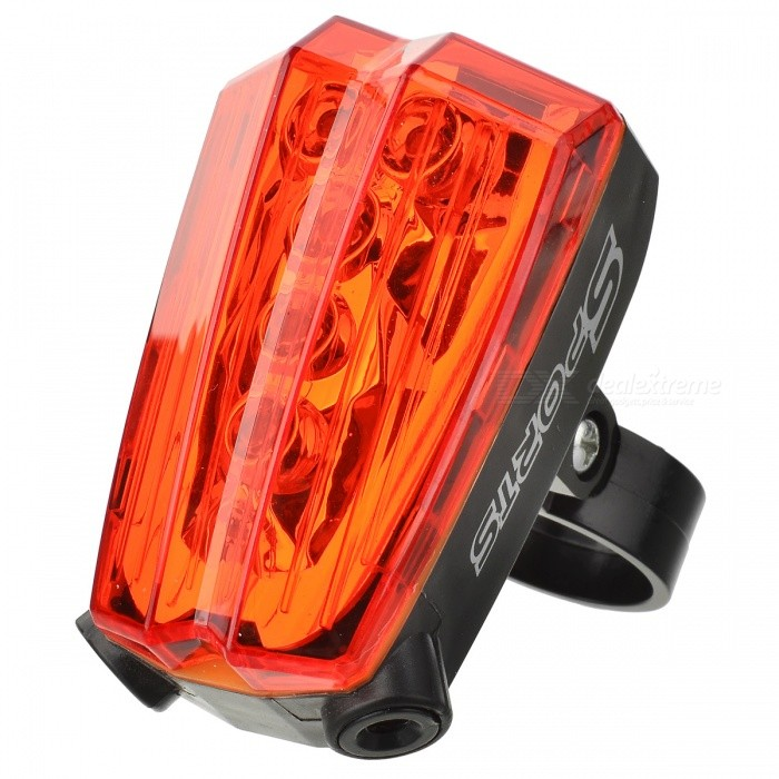 CTSmart 5-Mode 5 LED + 2 Laser Lights Outdoor Cycling Warning Light Red Light - RED + BlackBike Light<br>Form  ColorRed + BlackQuantity1 DX.PCM.Model.AttributeModel.UnitMaterialABSEmitter BINLEDColor BINRedNumber of EmittersOthers,5 LEDs + 2 Laser LightsBattery2*AAABattery included or notYesNumber of Modes5Mode ArrangementOthers,5 LED lights: steady on, fast strobe, strobe in turn; 2 laser lights: steady on, fast strobeStrap/ClipClip includedApplicationBodyWaterproofYesCertificationCEPacking List1 x Warning light<br>