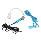 Mini Microphone + Earphone + Adapter Cable Kit for Cellphone / Computer / Karaoke / YY / QT - Blue