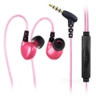 LIBERATOR 3.5mm LED Light Flashing In-Ear Earphones Headphones w/ Mic / Wire Control - Deep Pink