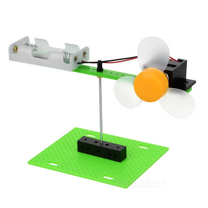 DIY Vergadering Roterende Propeller Air Thrust Experiment Kit - Groen + Zwart + Multi-Color (2 * AA)