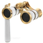 Outdoor Sports Mountaineering 3X Magnification Binocular Telescope w/ Handle - White + Golden