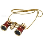 Outdoor Sports Mountaineering 3X Magnification Binocular Telescope w/ Lanyard - Red + Golden