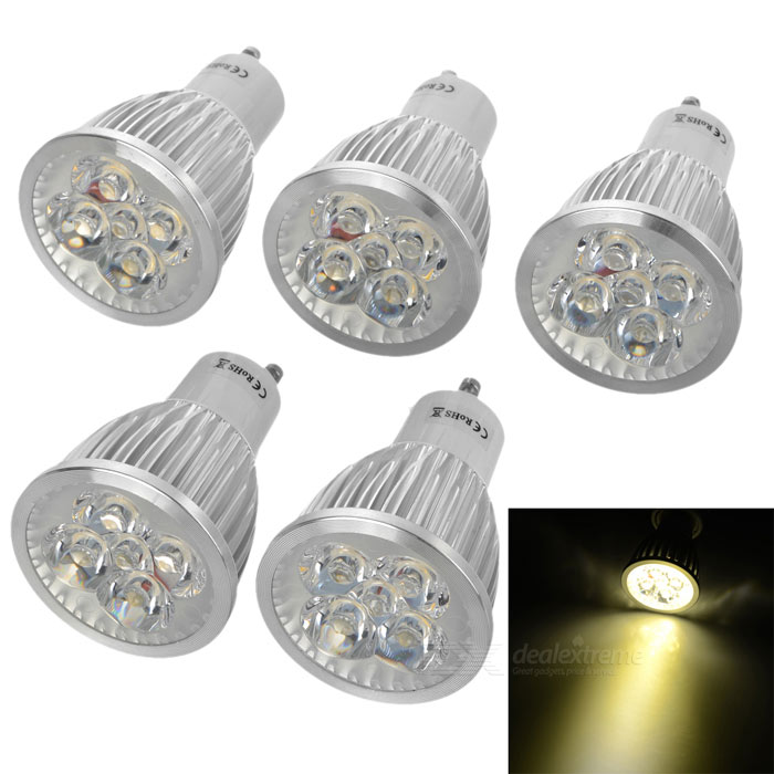GU10 5W 320lm 3000K LED Spotlight Warm White Light Lamp Bulb (85~265V / 5PCS)GU10<br>Form  ColorWhiteColor BINWarm WhiteMaterialAluminumQuantity1 DX.PCM.Model.AttributeModel.UnitPower5WRated VoltageAC 85-265 DX.PCM.Model.AttributeModel.UnitConnector TypeGU10Theoretical Lumens400 DX.PCM.Model.AttributeModel.UnitActual Lumens320 DX.PCM.Model.AttributeModel.UnitChip BrandEpistarChip TypeLEDEmitter TypeLEDTotal Emitters5Color Temperature3000KDimmableNoBeam Angle260 DX.PCM.Model.AttributeModel.UnitPacking List5 x Spotlight<br>