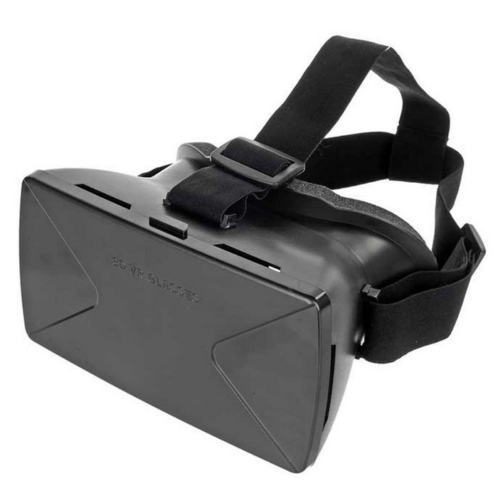 "Virtual Reality VR 3D Glasses w/ Headbelt for 4~6.5"" Phone - Black"