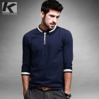 KUEGOU ZT-766 Men's Stand Collar Long-Sleeve T-Shirt - Blue (XXL)