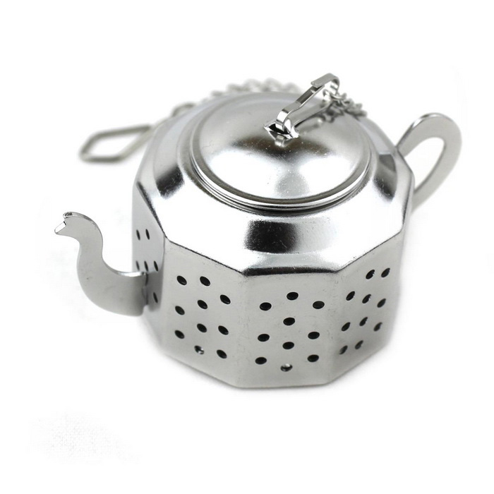 Stainless Steel Chain Octagonal Teapot Tea Strainer - Silver