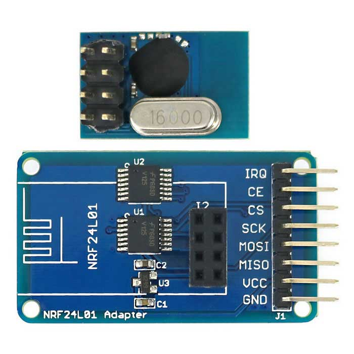 2.4G SE8R01 Wireless Transceiver Module + NRF24L01 Adapter Module for Arduino - Blue + Black