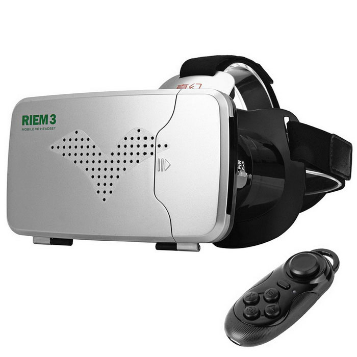 RITECH Riem III Virtual Reality 3D Glasses + Bluetooth Game Controller Gamepad - Black + Silver