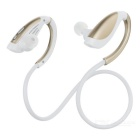 Bluetooth V4.1 Sports Neckband Earphones Headphones w/ Microphone - White + Golden