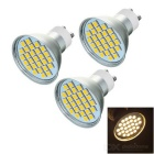 GU10 5W LED Bulb Lamp Spotlight Warm White 3000K 175lm 27-SMD 5050 - Silver + Yellow (220V / 3PCS)