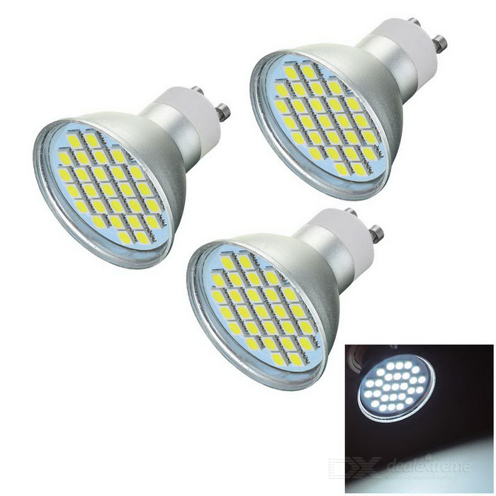GU10 5W LED Bulb Lamp Spotlight Bluish White 27-SMD 5050GU10<br>Form  ColorSilver + Yellow + Multi-ColoredColor BINBluish WhiteMaterialAluminum alloy + ceramicQuantity3 DX.PCM.Model.AttributeModel.UnitPower5WRated VoltageAC 220 DX.PCM.Model.AttributeModel.UnitConnector TypeGU10Theoretical Lumens400 DX.PCM.Model.AttributeModel.UnitActual Lumens243 DX.PCM.Model.AttributeModel.UnitChip Type5050 SMDEmitter Type5050 SMD LEDTotal Emitters27Color Temperature12000K,Others,6500~7000KDimmableNoBeam Angle120 DX.PCM.Model.AttributeModel.UnitOther FeaturesAluminum alloy is good for heat dissipation; Reliable quality; Suitable for home lightingPacking List3 x Bulbs<br>