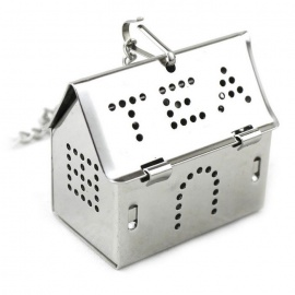 Stainless Steel Chain House Tea Strainer - Silver